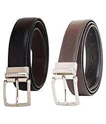 Kesari's Black & Brown Coloured Leather Combo Of 2 Belts For Men With 45 Inches Size (ram-150)