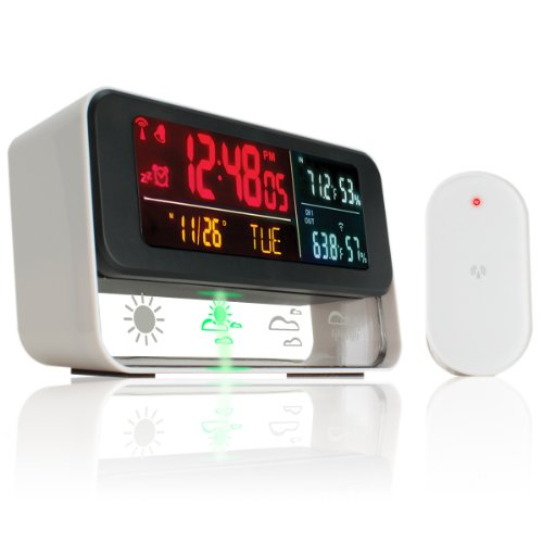 Enhance Weather Forecaster Station And Digital Alarm Clock With Wireless Outdoor Barometric Sensor - With Color Led Display , Indoor / Outdoor Temperature Readings , Humidity , Time , Date