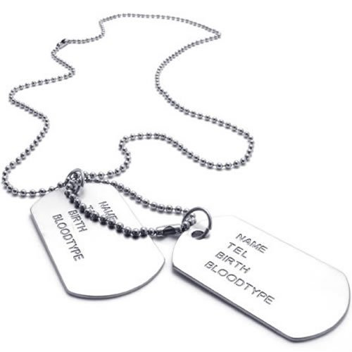 KONOV Jewelry Army Style 2pcs Dog Tag Pendant Mens Necklace Chain, Silver