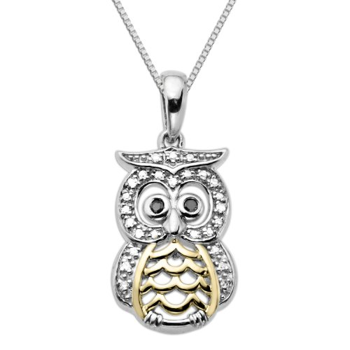 XPY Sterling Silver and 14k Yellow Gold Owl with Black and White Diamond Accent Pendant Necklace, 18