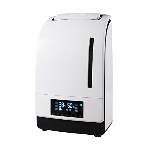Digital Micro-Tech 4500 Ultrasonic Cool & Warm Mist Humidifier-High Frequency Vibrations 1.7 MHz -Carbon Activated Air Filter + Ionizer + Aroma Essential Oil Diffuser (White) (Room Steam Humidifier compare prices)