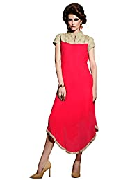 Shonaya Pink Colour Hand Work Georgette Stitched Kurti - B019MP6OQ2