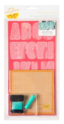 American Crafts 5-Piece Comrade Amy Tangerine Plus One Embroidery Stencil Kit
