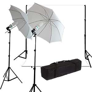 Studio éclairage lumière parapluie diffuseur kit, fond blanc 6*3m avec support réglable 2.8m et trépied d'éclairage 2m, lampe lumière du jour de studio ampoule photographie 125W 5500K