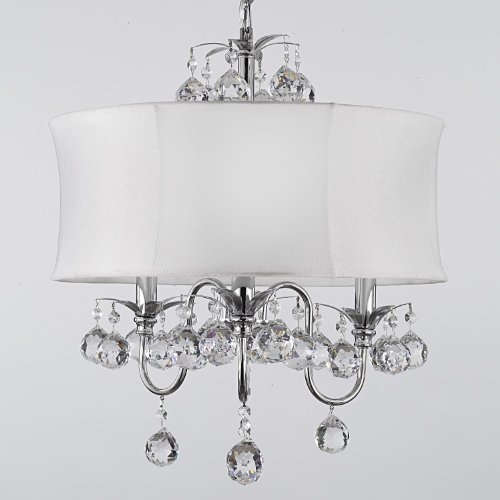 MODERN WHITE DRUM SHADE & CRYSTAL CEILING CHANDELIER PENDANT LIGHTING FIXTURE W 18
