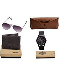 Combo Pack Of Black Denim Shade Wallet With YuniiQ Black Aviators With YuniiQ Chronograph Stylish Watch