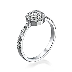 GIA Certified, Round Cut, Solitaire Diamond Ring in 18K Gold / White (1/2 ct, F Color, VS2 Clarity)
