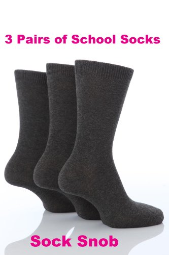 3 Pairs Boys Girls School Ankle Socks 12-3 shoe Grey
