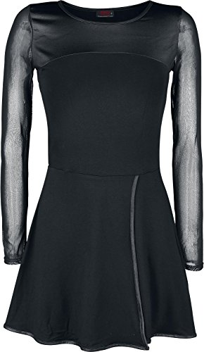 Spiral Mesh Sleeve Dress Abito nero S