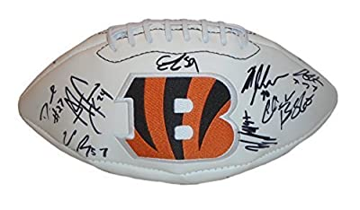 2015 Cincinnati Bengals Team Autographed / Signed White Panel Logo Football Featuring 31 Signatures Total, Proof Photo