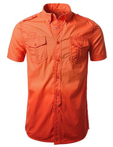 Urbancrews Mens Hipster Hip Hop Gradient Button Down Shirts Orange Xlarge