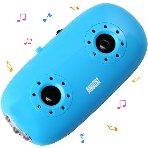 August MB100L Pocket MP3 Player with Integrated Stereo Speakers and LED Flashlight - Blue