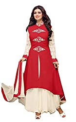 Sitaram womans georgette Red colour anarkali gown style semistiched material with dupatta.