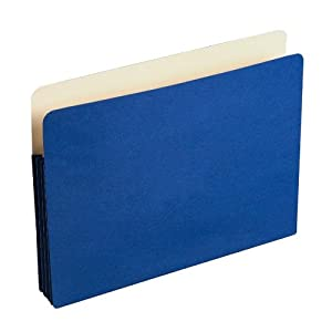 "Wilson Jones Colorlife Recycled (50%) Expanding File Pockets, Letter Size, 3-1/2"" Expansion, Dark Blue, 25/box, WCC64BL"