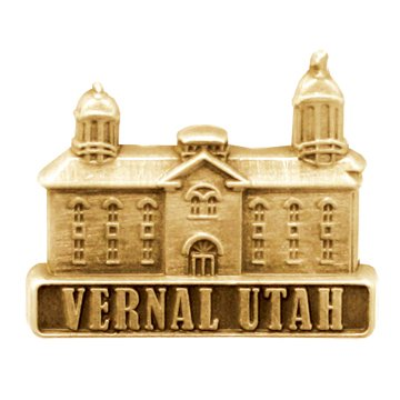 LDS Mens Vernal Utah Temple Gold Steel Tie Tac / Tie Pin for Boys