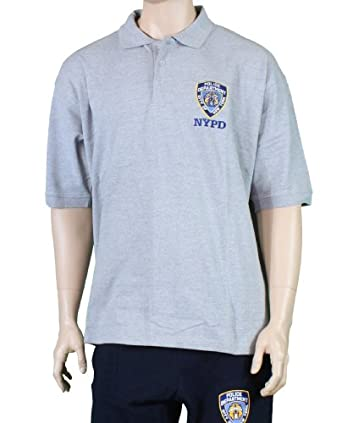 Nypd official embroidered logo polo shirt gray for High quality embroidered polo shirts
