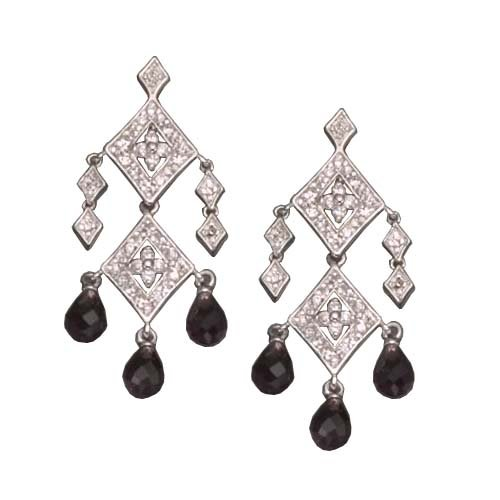 C.Z. AND AMETHYST RHODIUM PLATED (.925) STERLING SILVER EARRINGS