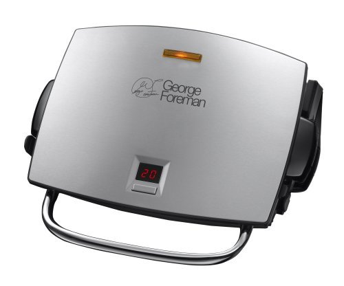 george-foreman-14525-four-portion-family-grill-and-melt-with-removable-plates-silver-by-george-forem