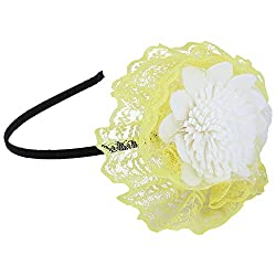Sanjog White Flourish Elegant Hair Band For Kids (Yellow)