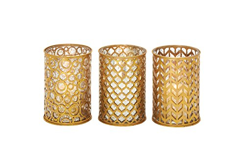 Plutus Brands Classy Metal Glass Candle Holder 3 Assorted