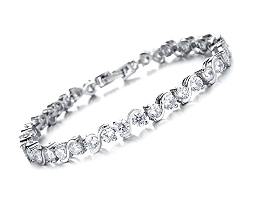 Tennis bracelet AAA Crystal 14 k White Gold filled jewelry Bangle Cz Diamond 14 K White Gold Filled ladies clear