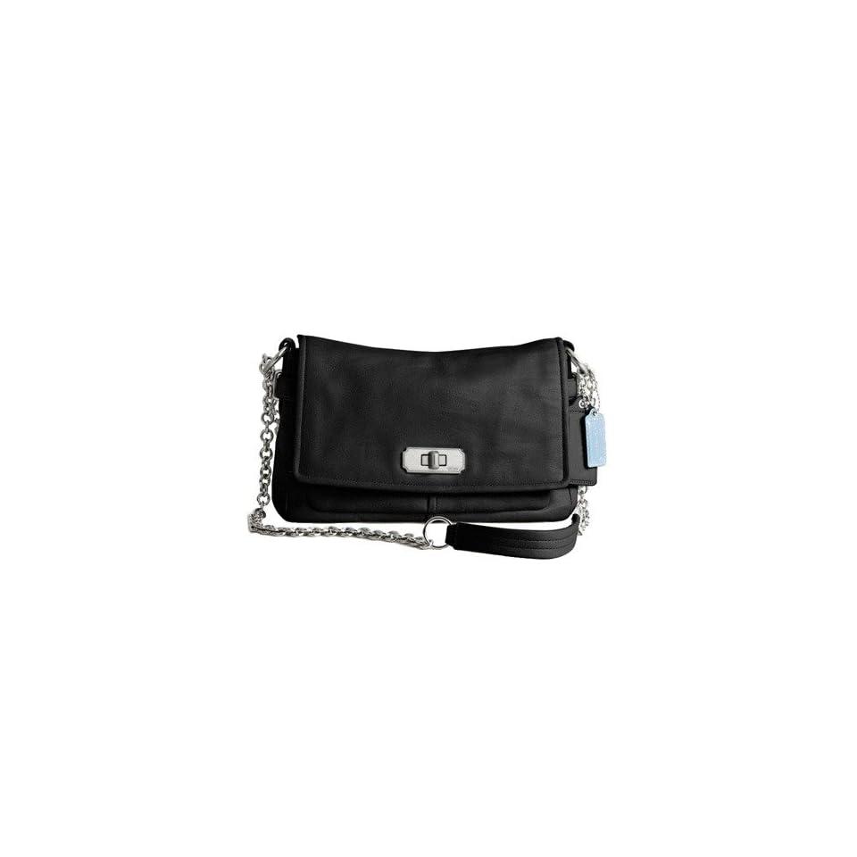 Authentic Coach Chelsea Leather Flap Clutch Evening Bag 17825 Black
