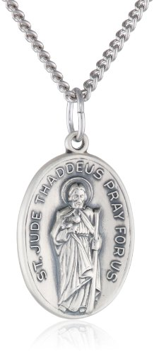 Sterling Silver Oval Saint Jude Medal with Antique Finish and Stainless Steel Chain, 20