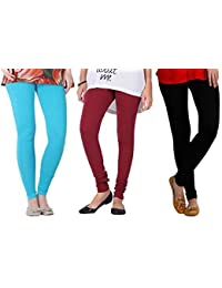 2Day Women's Cotton Turk/Maroon/Black Churidar Legging (Pack Of 3)