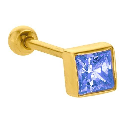 4mm Blue Topaz Princess Cut 14K Yellow Gold Cartilage Stud Earring