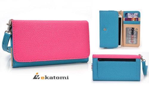 Hot Pink | Sky Blue | Universal Women'S Wallet Wrist-Let Clutch For Apple Iphone 6 Phone Case. Bonus Ekatomi Screen Cleaner front-1013947