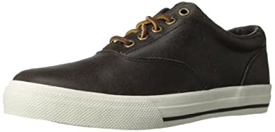 Polo Ralph Lauren Men's Vaughn Distressed Leather Sneaker,Dark Brown/Dark Brown,7 D US