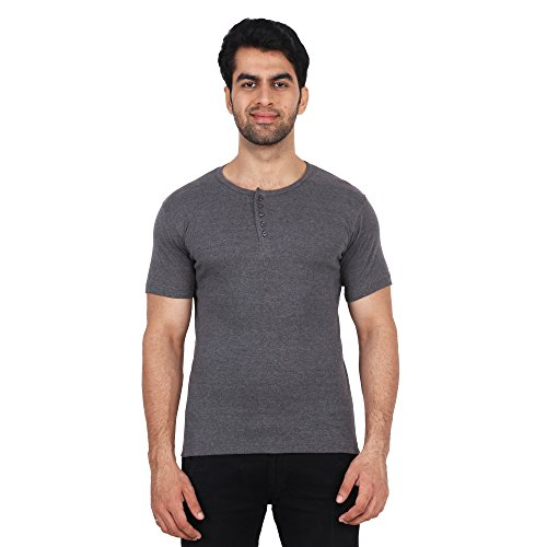 Fashcom Men's Grey Bodyfit Rib Round Neck Half Sleeves T-Shirt Size-L