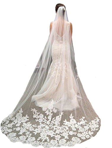YSFS Women's Appliques Tulle Bridal Wedding Veil With Comb Ivory Long