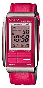 Casio #LA201WBL-4A Women's Futurist Leather Band Alarm Chronograph Digital Watch