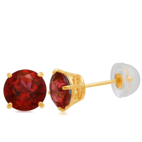 10k Yellow Gold Round Padparadsha Colored Topaz Earrings (6mm )