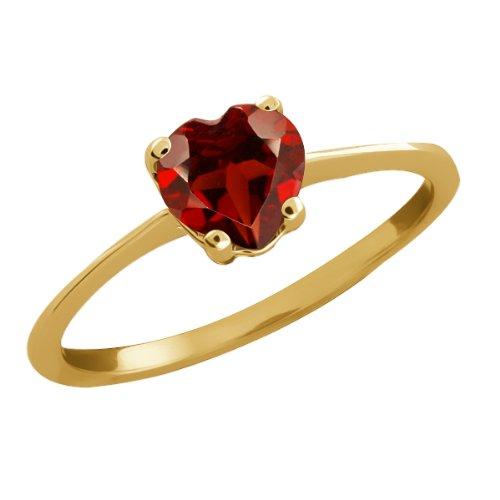 0.90 Ct Heart Shape Red Garnet 14k Yellow Gold Ring Jewelry