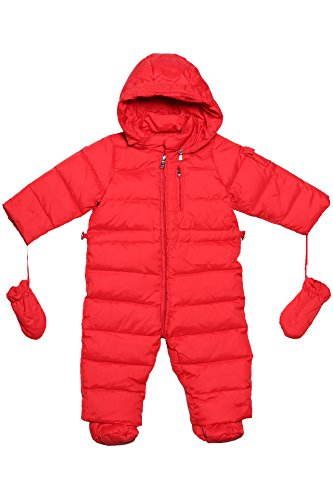 Oceankids Baby Boys Girls Red Pram One-Piece Snowsuit Attached Hood 18M 12-18 Months