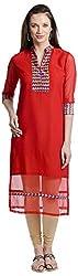 Chandigarh Fashion Mall Women's Georgette Regular Fit Kurta (Cfm.1069_S, Red, S)