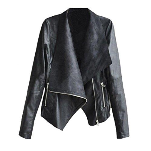 rivestimento della chiusura lampo, FEITONG donne motociclista giacca di pelle moto (S, Nero)