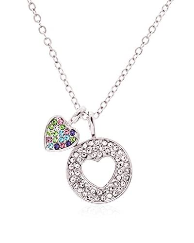 Annabella Lily 18K White Gold Multi Colored Swarovski Elements Pave Heart Necklace