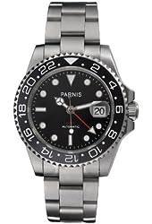 Fanmis Ceramic Bezel Gmt-master Ii Black Dial Automatic Mechanical Ladies Men's Silver Steel Watch Pa-253