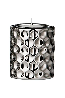 Premier Housewares 8 X 7 Cm Tealight Holder Hammered Effect Ceramic Silver by Premier Housewares