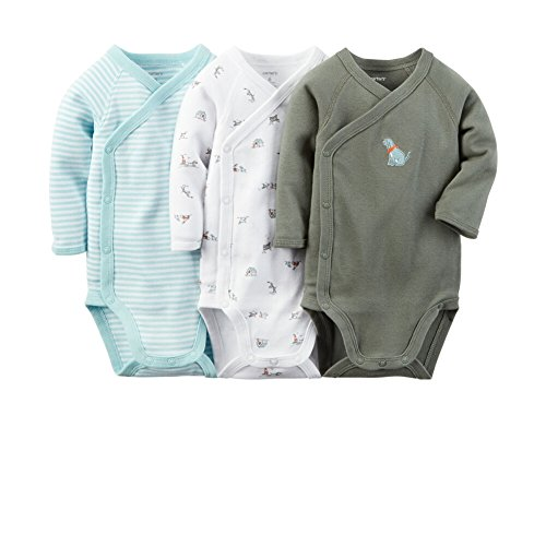 Carters Baby Boys 3-Pack Side-Snap Bodysuits Blue Puppy NB