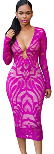 TomYork Deep Fuchsia Lace Nude Low Neckline Midi Dress(Size,L)