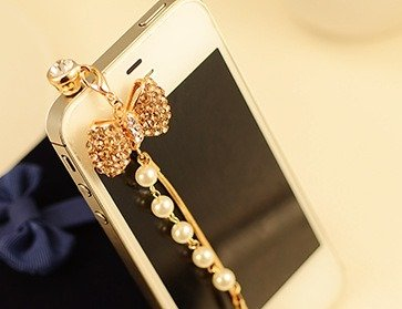 CJB Dust Plug / Earphone Jack Accessory Rhinestone Bow Pearl Chain Gold for iPhone 4 4s S4 5 All Device with 3.5mm Jack (US Seller) (Crown Headphone Jack Charm compare prices)