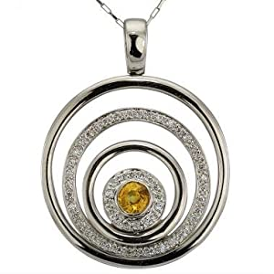 Diamond Sapphire Pendant With Pear Shaped Yellow Sapphire And Fine White Diamonds In 18K White Gold Circle Pendant