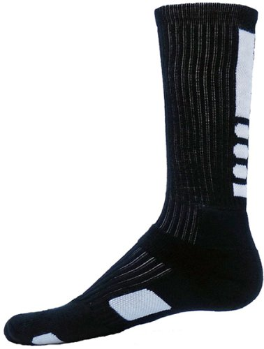 Unique Sports Red Lion Legend Athletic Crew Socks (Medium, Black/White)
