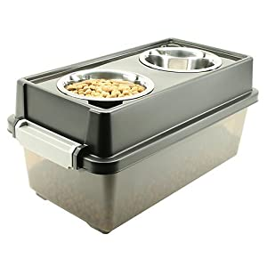 IRIS Airtight Elevated Storage Feeder with 2 Stainless Steel Bowls from IRIS USA, Inc.
