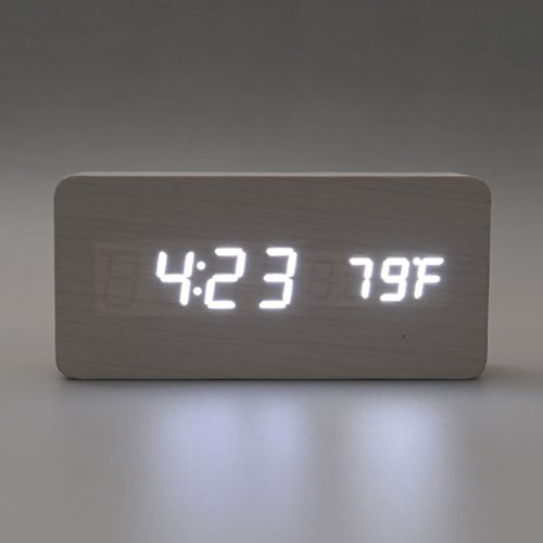 {Factory Direct Sale} White LED Wooden Digital Desk Clock Alarm Clock Time Date Thermometer Real Wood Framework Brown Rectangular Type Wake Up