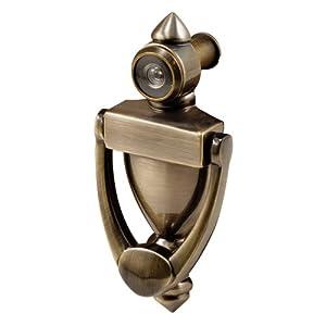 Prime line products s 4235 door knocker viewer diecast construction antique brass finish - Brass door knocker with viewer ...